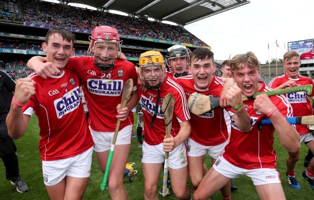 Cork players celebrate after the game