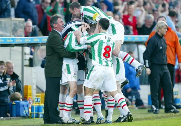 George O'Callaghan celebrates his goal