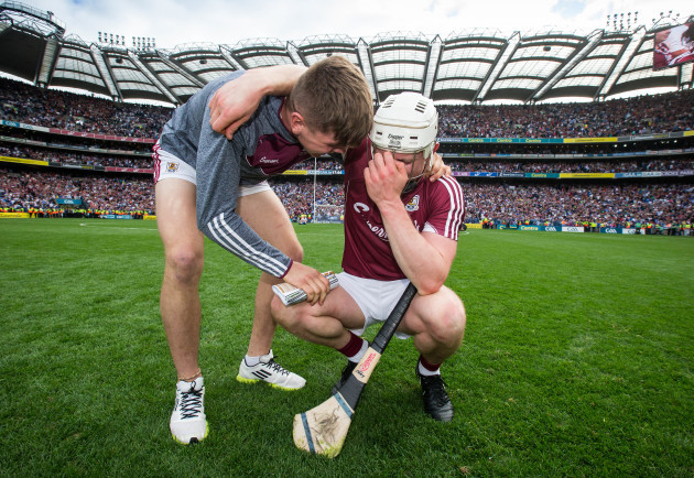 Joe Canning celebrates with his nephew Jack Canning who was part of the Galway Minor winning team