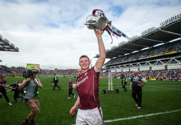Joe Canning celebrates with the Liam MacCarthy cup