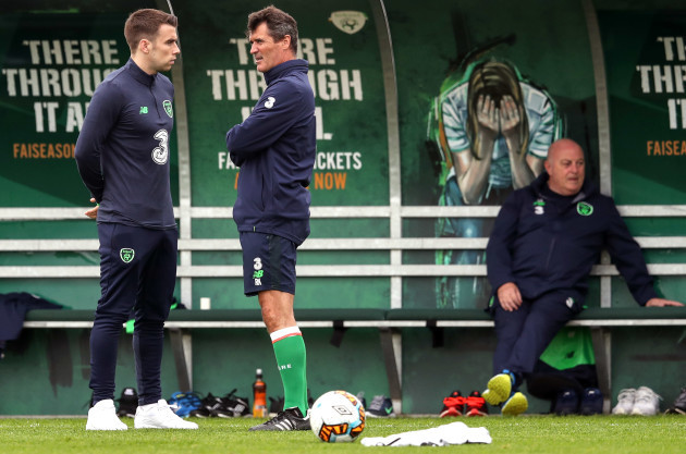 Seamus Coleman with Roy Keane
