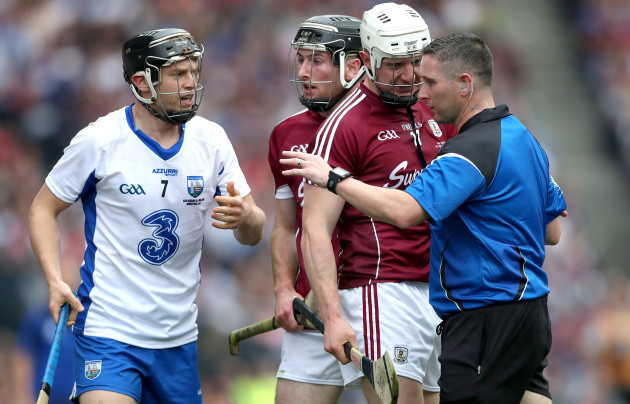 Joe Canning speaks to referee Fergal Horgan