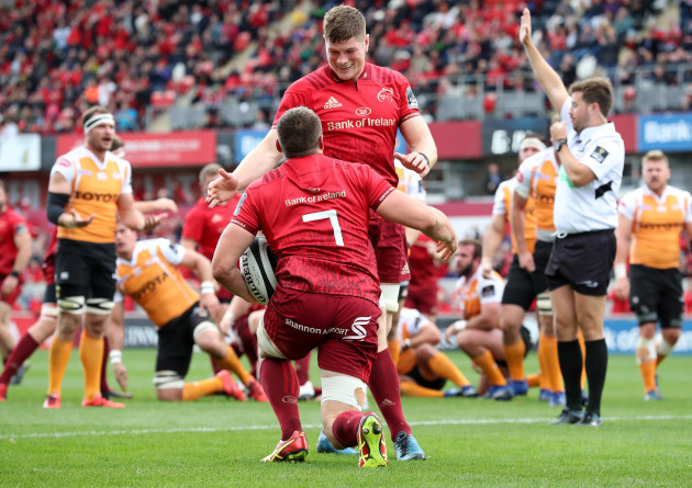 Tommy O'Donnell celebrates scoring a try with Jack O'Donoghue