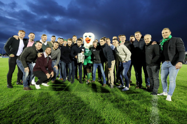 The Galway hurling panel with Connacht mascot Eddie The Eagle and the Liam McCarthy Cup