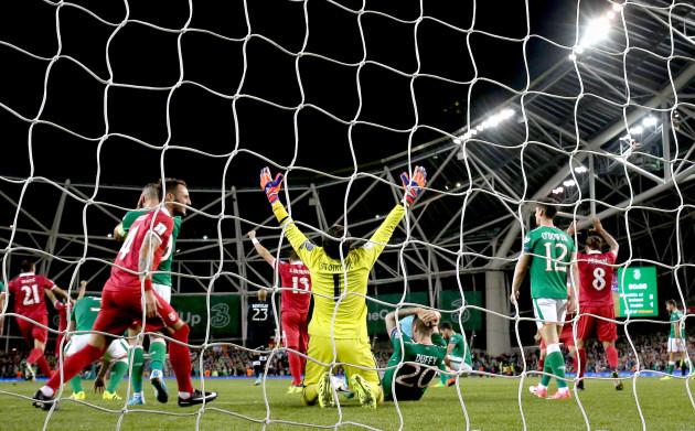 Goalkeeper Vladimir Stojkovic celebrates at the final whistle