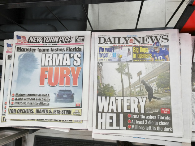 NY: New York papers report on Hurricane Irma in Florida