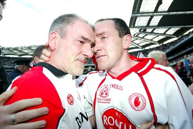 Mickey Harte and captain Brian Dooher 25/9/2005