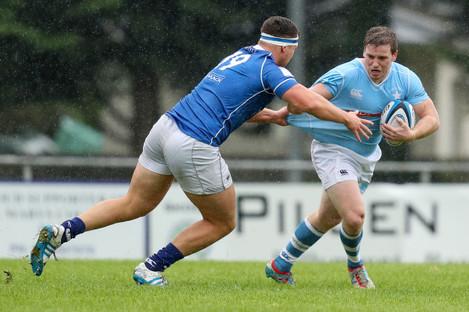 Darragh McDonnell tackles Neil Cronin