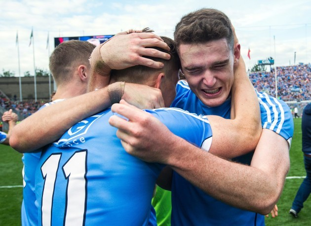 Brian Fenton celebrates after the game with Con O'Callaghan