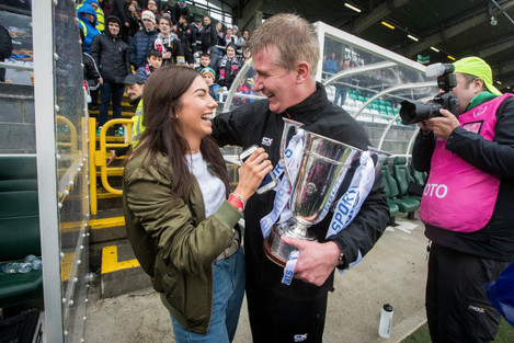 Stephen Kenny celebrates with his daughter Caoimhe 16/9/2017