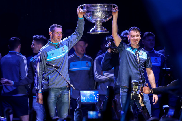 Denis Bastick and Cormac Costello with the Sam Maguire