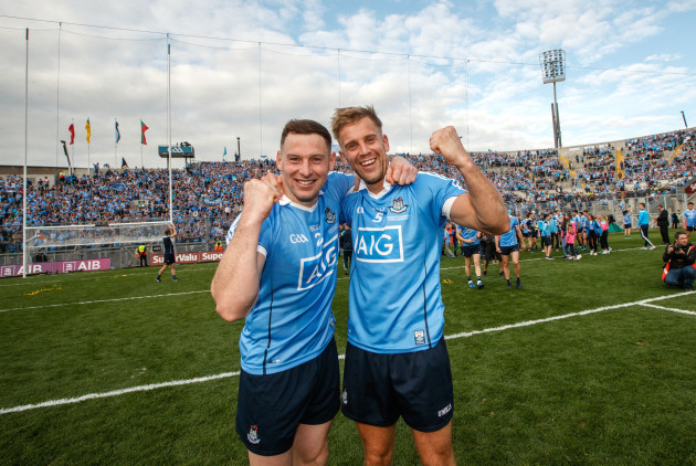 Philip McMahon and Jonny Cooper celebrate