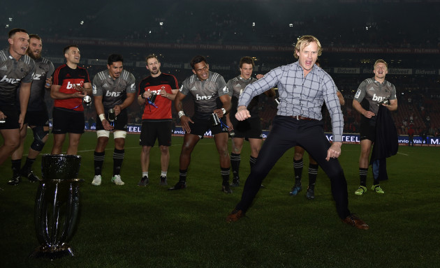 Scott Robertson celebrates winning