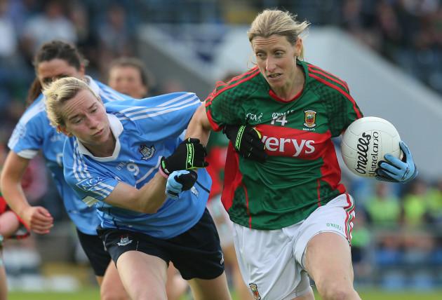 Sorcha Furlong tackles Cora Staunton
