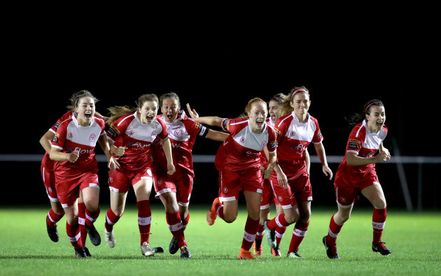 Shelbourne celebrate winning The Continental Tyres WNL League Cup on penalties