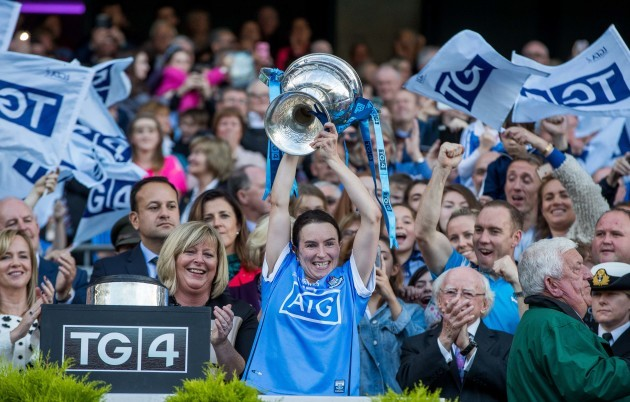 Sinead Aherne lifts the Brendan Martin Cup