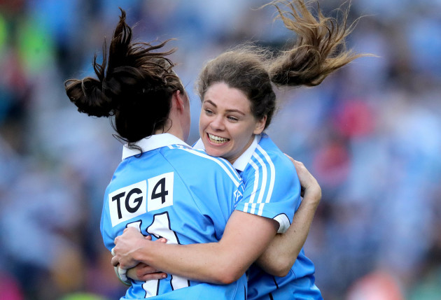 Noelle Healy and Lydsey Davey celebrate at the final whistle