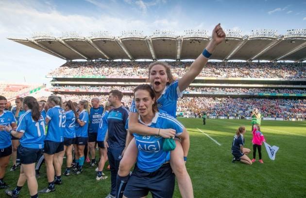 Sinead Finnegan and Denise McKenna celebrate