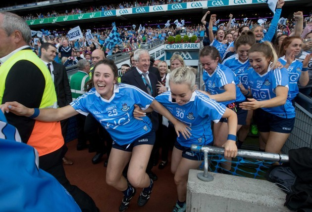 Dublin players celebrate the final whistle
