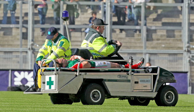 Andy Moran leaves the field injured