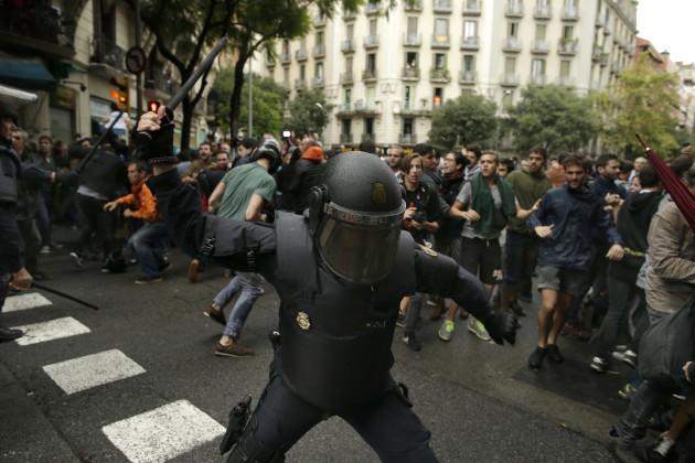 CORRECTION Spain Catalonia near a polling station.