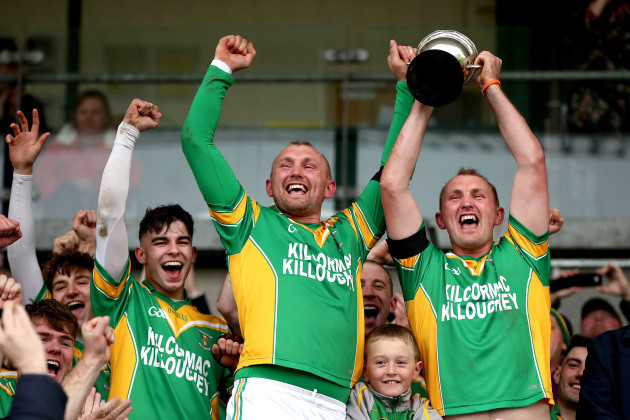 Ger Healion and Pater Healion celebrate winning the Robbins Cup