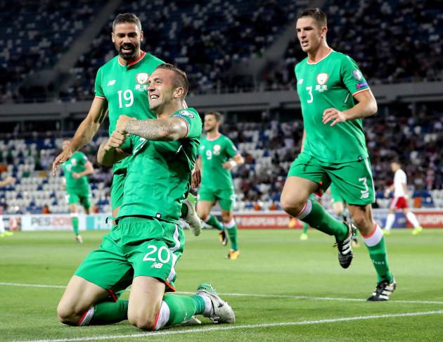 Shane Duffy celebrates scoring