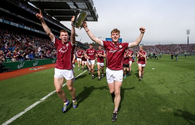 Enda Fahy celebrates after the game with Donal Mannion