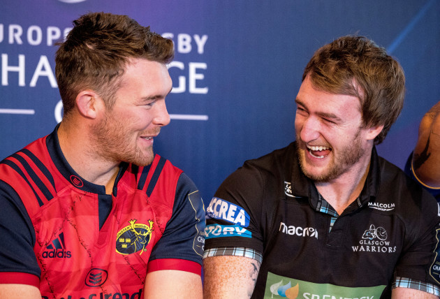 Peter O'Mahony shares a joke with Stuart Hogg