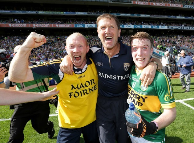 Alan O'Sulivan, Jack O'Connor and Brian Rayel celebrate the final whistle