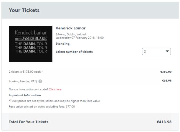 Standing tickets Kendrick