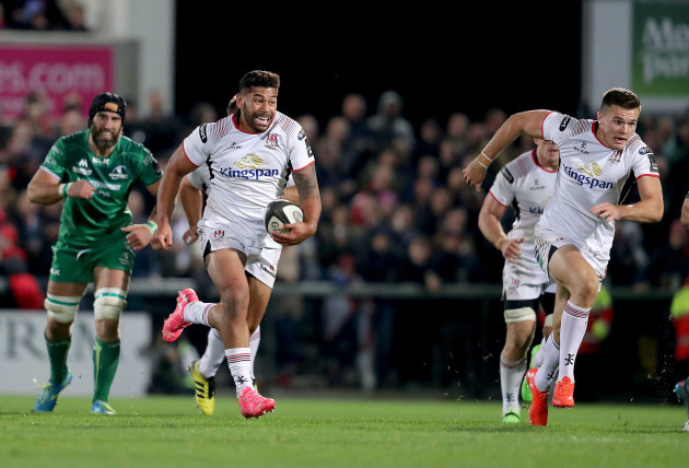 Charles Piutau makes a break supported by Jacob Stockdale