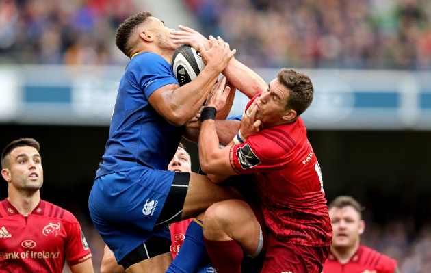 Adam Byrne competes for a high ball with Ian Keatley