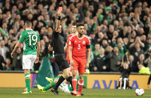 Neil Taylor gets a red card for his tackle on Seamus Coleman
