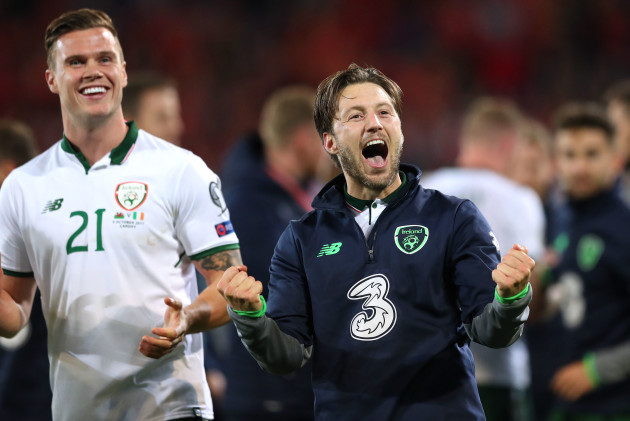 Harry Arter celebrates after the game