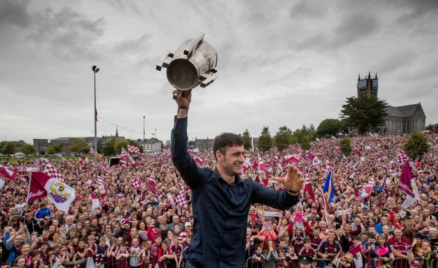David Burke shows the Liam McCarthy Cup to the crowd in Ballinasloe