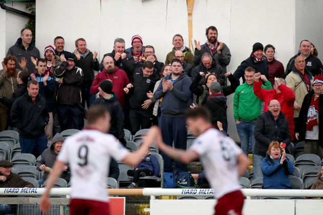 Galway united fans celebrate a goal