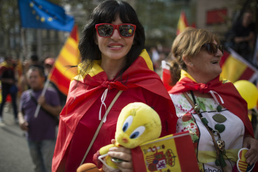 Spain: Pro Unity Demonstration on Spain's National Day