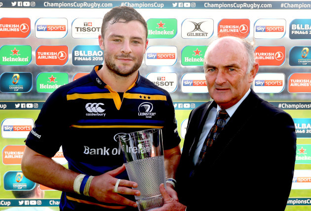 Robbie Henshaw presented with his man of the match award by Pat Maher