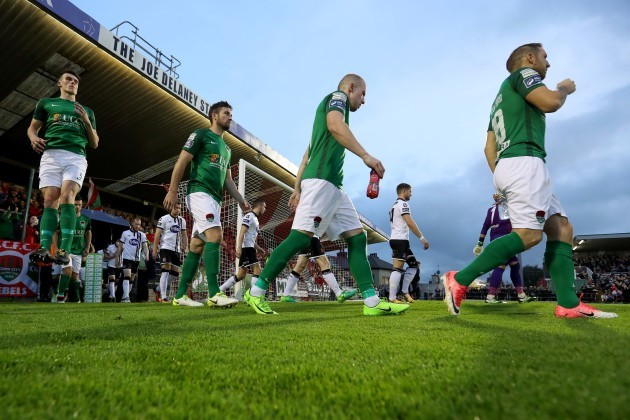 Cork City's players before kick off