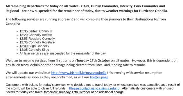 Ophelia Transport Update No Buses Or Trains In The Country Until