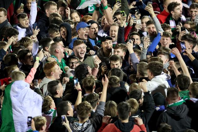 Cork's fans celebrate winning the league