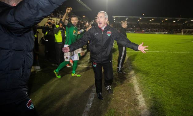 John Caulfield celebrates at the final whistle