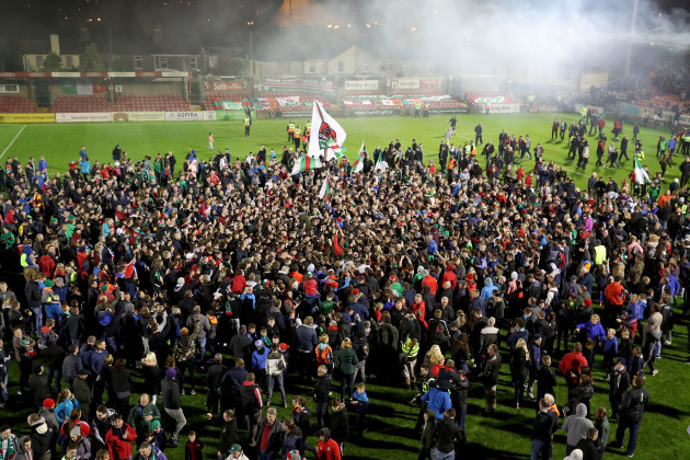 CorkÕs City fans invade the pitch at the end of the game