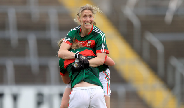 Cora Staunton celebrates with Fiona McHale at the end of the game