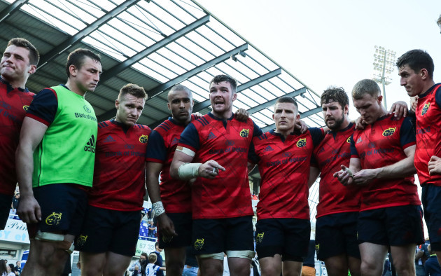 Munster's Peter O'Mahony talks to his team after the game