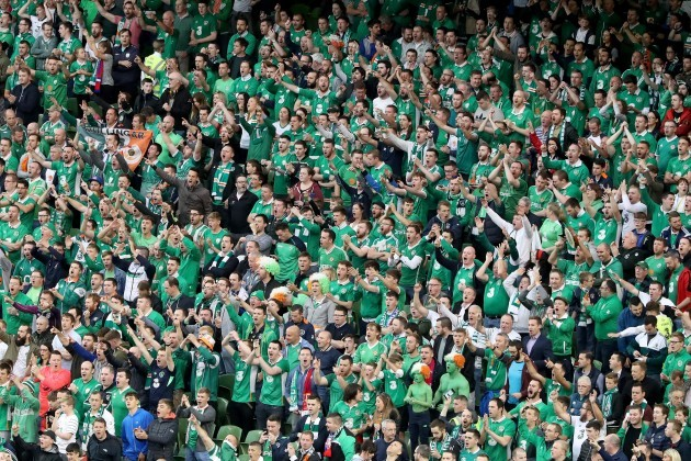 Ireland fans during the game