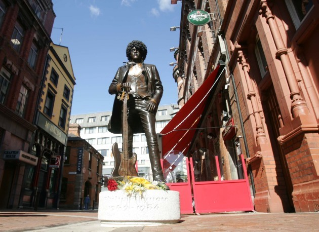 The Phil Lynott statue which was unveiled on Friday in his memory,pictured in Harry St Dublin.20/8/2005 Photo:Leon Farrell Photocall Ireland