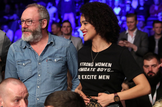 Liam Cunningham and Nathalie Emmanuel at the event