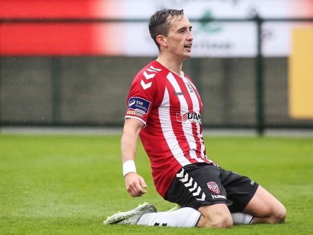 Aaron McEneff celebrates scoring a goal